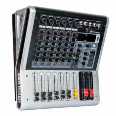 NOU!MIXER AUDIO 4 CANALE, AMPLIFICAT 250WATT, EFECTE DSP, USB, BLUETOOTH, AFISAJ.