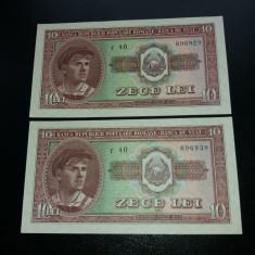 Bancnote romanesti 10lei 1952 serii consecutive unc - Bancnota romaneasca