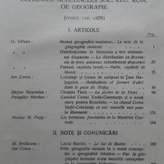 BULETINUL SOCIETATII REGALE ROMANE DE GEOGRAFIE 1923, CU HARTI SI ILUSTRATII, 1938 - Carte Geografie