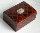 Cutie vintage lemn cu placuta de argint