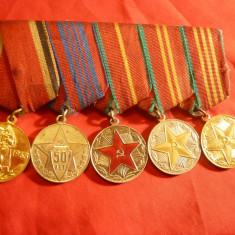 Bareta cu 5 Medalii URSS -4 de militie si 1-20 ani de la razboi - Ordin
