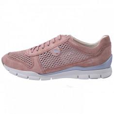 Adidasi dama, din piele naturala, marca Geox, cod D62F2F-C8056-10-06, culoare roz, marimea 40