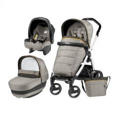 Carucior 3 in 1 Book Plus 51 Black&White POP-UP Elite Luxe Grey - Carucior copii 2 in 1 Peg Perego