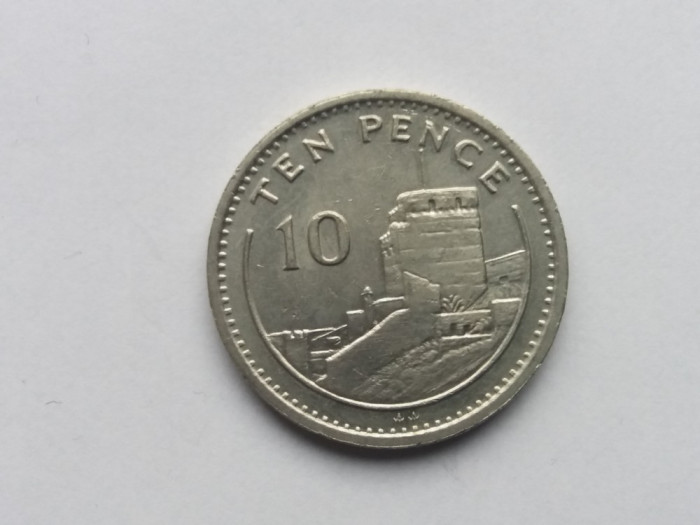 Gibraltar 10 pence 1991 foto mare
