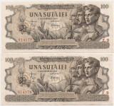 ROMANIA 2 X 100 LEI 5 DECEMBRIE 1947 XF CONSECUTIVE