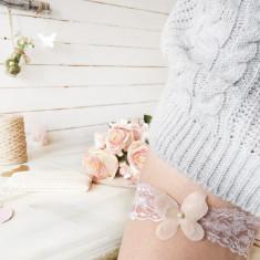 Jartiera Mireasa Personalizata Dusty Pink Lace Bride Garter