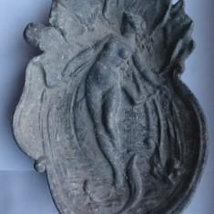 Scrumiera veche vintage metal basorelief bomboniera de colectie deco art nouveau