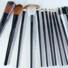 Trusa Set Profesional 12 Pensule Machiaj Fard Pudra Rimel Sprancene Pensula - Pensula machiaj