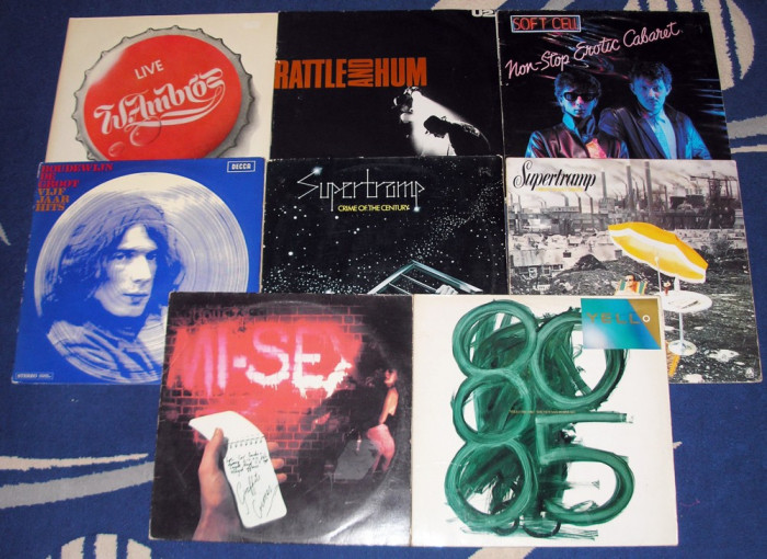 Lot 12 discuri vinyl vinil (unele uzate): U2, Supertramp, Yello, etc.