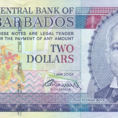 Bancnota Barbados 2 Dolari 2007 - P66b UNC - bancnota america
