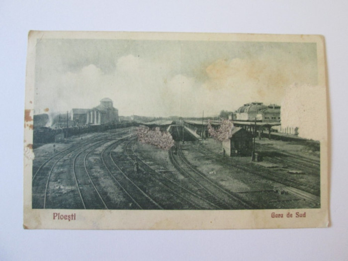 Carte postala gara de sud Ploiesti din 1929,circulata si cenzurata in 1943 foto mare