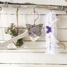 Jartiera Mireasa Personalizata Purple Butterfly Wedding Garter