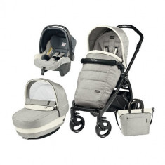 Carucior 3 in 1 Book Plus Black Matt POP-UP Elite Luxe Opal - Carucior copii 2 in 1 Peg Perego