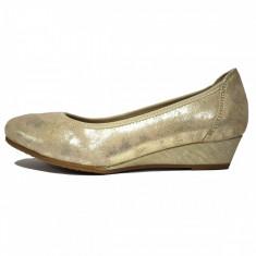 Pantofi dama, din piele naturala, marca Jana, cod 8-22203-20-D3, culoare auriu cu culoare bej, marimea 39 - Pantof dama Jana, Cu platforma