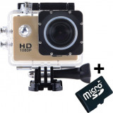 Camera Sport iUni Dare 50i HD 1080P, 12M, Waterproof, Auriu + Card MicroSD 8GB Cadou