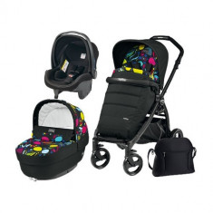 Carucior 3 in 1 Book Plus Black Matt POP-UP Elite Manri - Carucior copii 2 in 1 Peg Perego