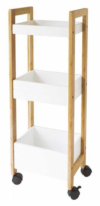 Raft din bambus cu roti, 79 x 19 x 28 gelco
