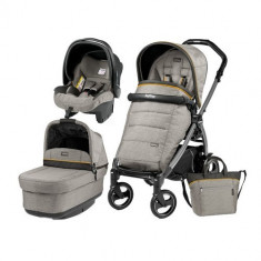 Carucior 3 in1 Book Plus S Black POP-UP Elite Luxe Grey - Carucior copii 2 in 1 Peg Perego