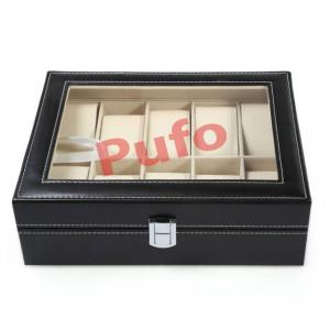Cutie caseta eleganta depozitare cu compartimente pentru 10 Ceasuri