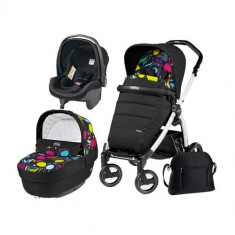 Carucior 3 in 1 Book Plus 51 Black&White POP-UP Elite Manri - Carucior copii 2 in 1 Peg Perego