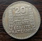 (A91) MONEDA DIN ARGINT FRANTA - 20 FRANCS 1933, 20 GRAME, Europa