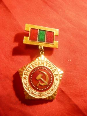 Insigna Veteran - URSS , metal si email , h= 5,4 cm foto