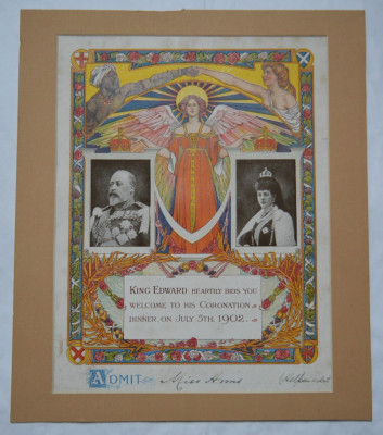 Invitatie King Edward Coronation Dinner 5 iulie 1902 foto