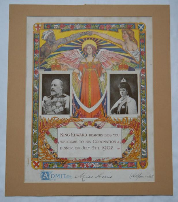 Invitatie King Edward Coronation Dinner 5 iulie 1902 foto mare