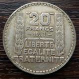 (A21) MONEDA DIN ARGINT FRANTA - 20 FRANCS 1933, 20 GRAME, Europa