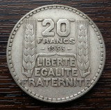 (A81) MONEDA DIN ARGINT FRANTA - 20 FRANCS 1933, 20 GRAME, Europa