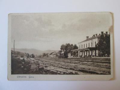 Carte postala gara Campina circulata 1921 foto