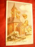 Ilustrata- Felicitare de Paste cu Clopote zburatoare 1956, Circulata, Printata