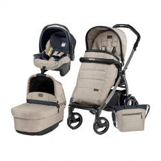 Carucior 3 in1 Book Plus 51 S Black POP-UP Elite Luxe Beige - Carucior copii 2 in 1 Peg Perego