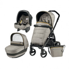 Carucior 3 in 1 Book Plus Black Matt POP-UP Elite Luxe Grey - Carucior copii 2 in 1 Peg Perego