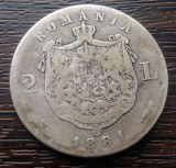 (A63) MONEDA DIN ARGINT ROMANIA - 2 LEI 1881, CAROL I