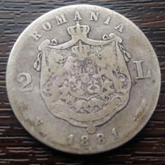 (A63) MONEDA DIN ARGINT ROMANIA - 2 LEI 1881, CAROL I - Moneda Romania