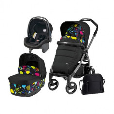 Carucior 3 in 1 Book Plus 51 Black POP-UP Elite Manri - Carucior copii 2 in 1 Peg Perego