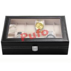 Cutie caseta eleganta depozitare cu compartimente 12 ceasuri TRANSPORT GRATUIT