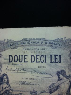 bancnote romanesti 20lei luna ianuarie 1929 foto