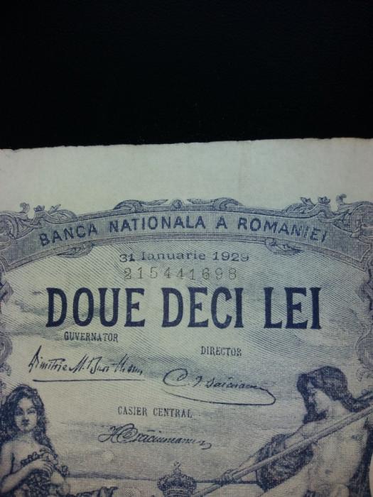 bancnote romanesti 20lei luna ianuarie 1929 foto mare