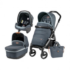 Carucior 3 in1 Book Plus 51 S Black POP-UP Elite Blue Denim - Carucior copii 2 in 1 Peg Perego