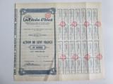 Certificat de actiuni la purtator Les Petroles d'Orient de 100 Franci din 1926, America de Nord