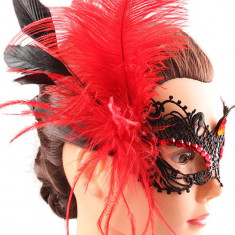 MSK60 Masca Halloween din broderie, accesorizata cu pietricele si pene - Masca carnaval