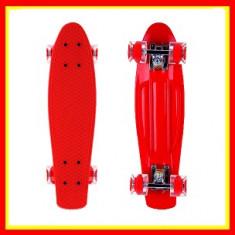 Penny Board Roti Silicon Lumini 56cm Rosu - Skateboard, Marime: 22