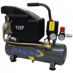 Compresor aer Stager, Rezervor 6L, Presiune 8 bar, 1CP, Debit aer 126 l/min,, Compresoare cu piston