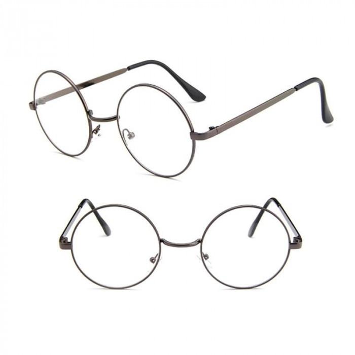 Ochelari  rama gri inchis  lentila transparenta  unisex retro husa inclusa