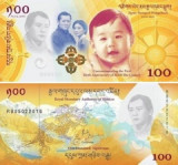 !!!   BHUTAN  -  100  NGULTRUM  2017 (2018) , COMM.  -  P NEW  - UNC / CU FOLDER