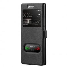 Husa HUAWEI P9 Lite - Smart Luxury Window (Negru) - Husa Telefon, Piele Ecologica, Cu clapeta