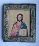 Icoana Isus Cristos iconita veche litografie rama metal bazorelief Iisus Hristos