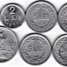 LOT RPR 5 LEI 1948 1949 1950 1951+1+ 2 +20 lei 1951 F VF XF a.UNC (3) - Moneda Romania, Aluminiu